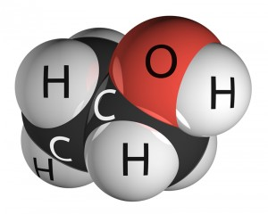 Ethanol molecule isolated on white. Hydrogen - white, carbon - black, oxygen - red